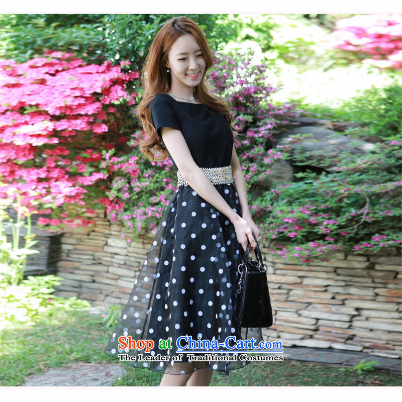 C.o.d. Package Mail 2015 Summer new stylish Korean version of Word SENSE Neck short-sleeve knitting stitching OSCE root yarn wave point bon bon sweet graphics thin black skirt XXL