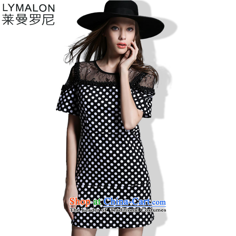 The lymalon Lehmann 2015 Summer Western New Big Wave point stitching lace larger female loose round-neck collar dresses 1928 picture color�L