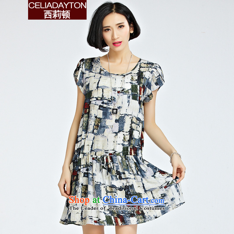 Szili Korean Version Foutune of stamp cotton linen dresses Summer 2015 new thick mm sister to xl loose short-sleeved dresses Mrs women skirtsXXXL map color