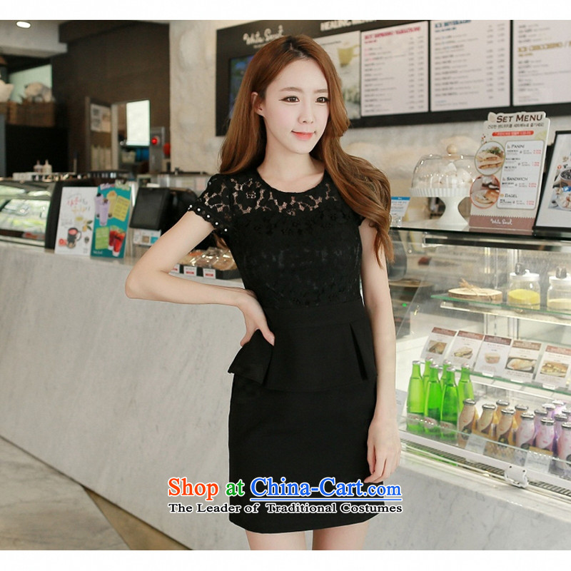 C.o.d. Package Mail 2015 Summer new stylish look sexy beauty Korean hand-nails pearl bubble short-sleeved round-neck collar stylish graphics thin temperament dresses blackXXL