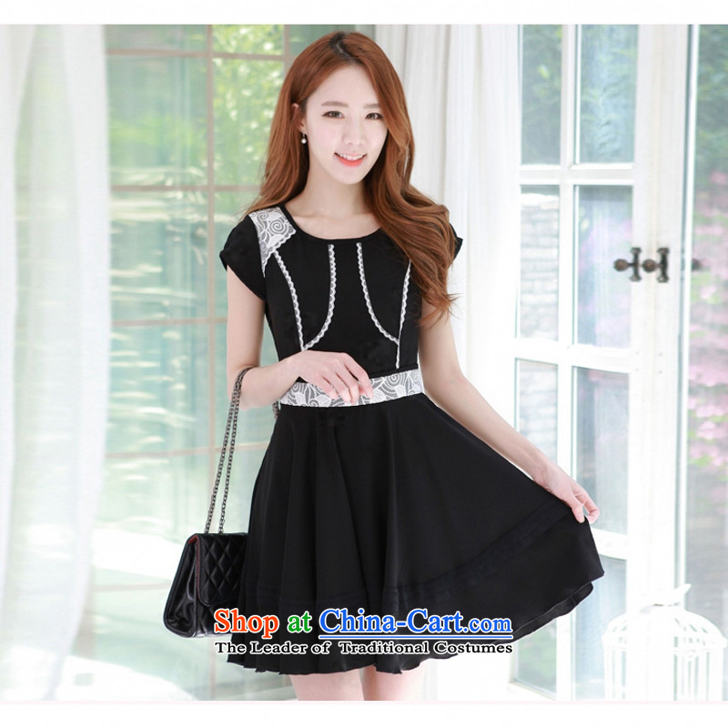C.o.d. Package Mail 2015 Summer new stylish look sexy Korean round-neck collar short-sleeved high-end the Commission the stitching lace A Swing Sau San video thin dresses Black聽XL