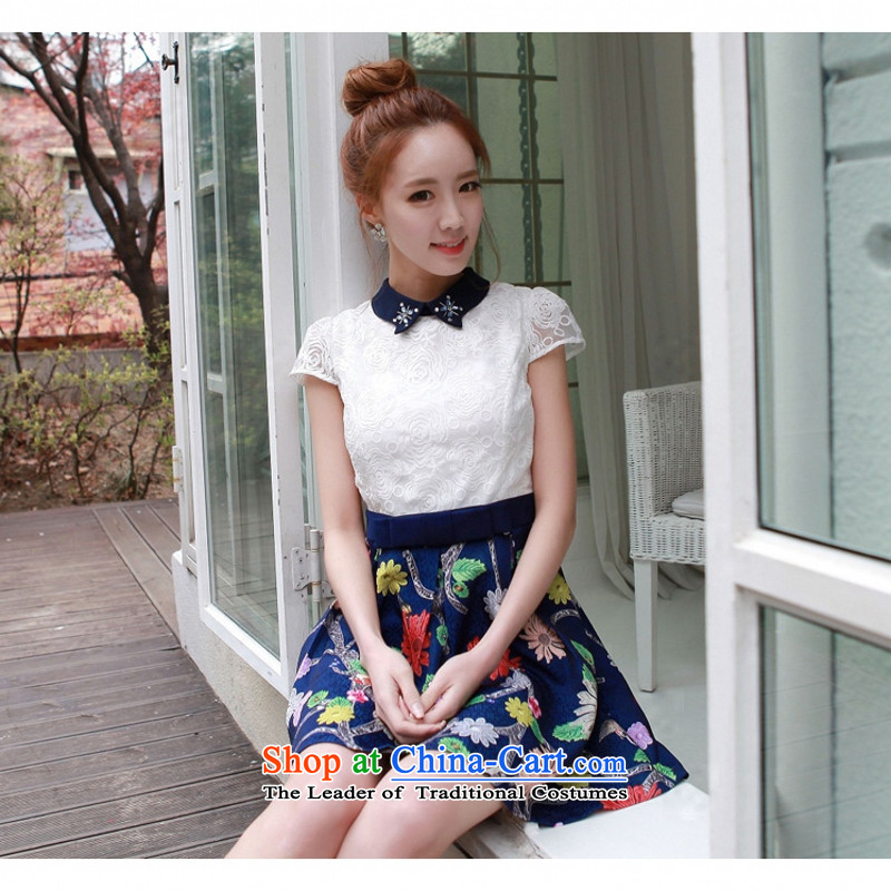 C.o.d. Package Mail won the 2015 summer edition new stylish look sexy larger manually staple pearl lapel lace stamp A swing video thin elegant dresses white燣