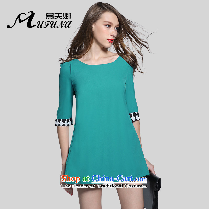 Improving access of 2015 Summer new minimalist stitching temperament dresses thick sister larger female graphics thin燽lue燲XXL 3018