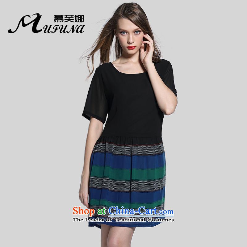 Improving access of 2015 Summer new thick sister larger female retro dress video thin燽lack燲XXXXL 2653 Sau San