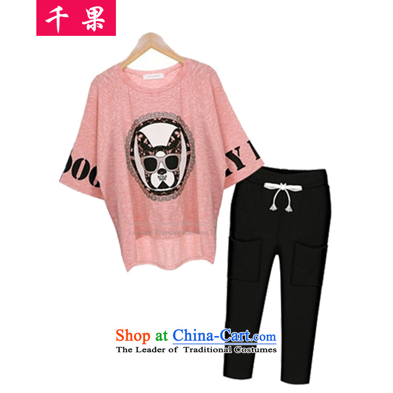 Thousands of fruit in Europe 2015 Summer new thick sister larger women to increase the stamp duty thin bats graphics loose shirt + Capri two Kit�3爌ink shirt + Capri燲L