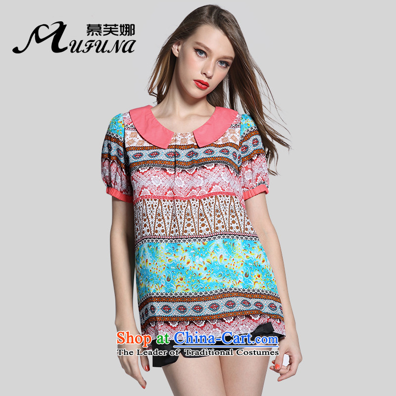 Improving access of 2015 Summer new thick sister larger female stamp chiffon shirt female T-shirt collar retro stamp1613 dollspicture colorXXXL