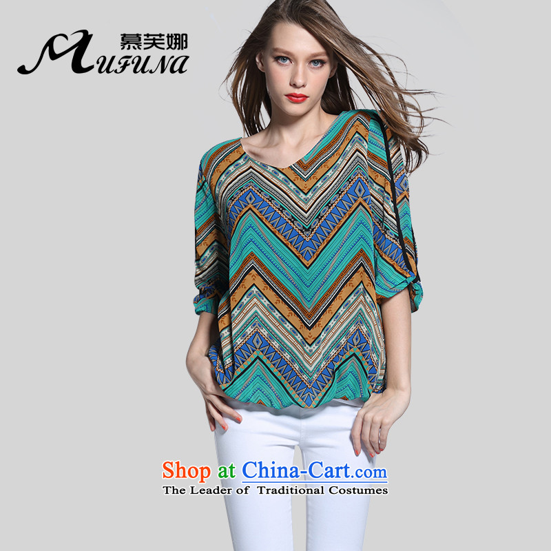 Improving access of 2015 Summer new V-neck in large cuff chiffon shirt thick MMT pension larger women in the retro-sleeved shirt燾olor picture燲XXL 6154