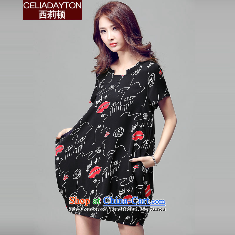 Szili Clinton new chiffon dresses female 2015 Summer Korean large short-sleeved blouses and thick mm sister stamp loose video thin A skirt lanterns dresses XXXL black