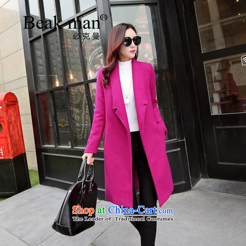 Of Cayman wool coat women�15 Winter? New Products Korean style liberal Sau San_? a wool coat long-sleeved pure colors in the Women's Long Sleeve aubergine燣_165 gross?