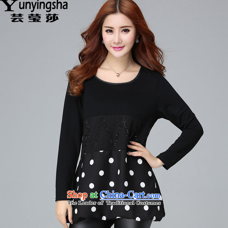 Yun-ying large sa 2015 Autumn women with new fat mm increase to round-neck collar larger t-shirts, forming the Netherlands D9627 female  Black XL