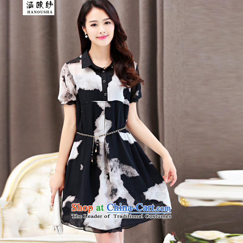 Euro2015 Summer yarn covered by the new fat mm to xl chiffon dresses Korean loose video thin black skirt to suit mother waist linkXXL