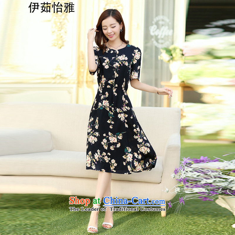 El-ju Yee Nga thick, Hin thin new summer larger female thick cotton sister dresses YJ73382 m bottom blue聽XXL