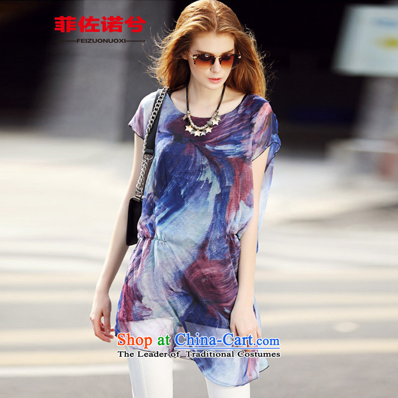 The officials of the fuseau large western Women's Summer thick mm to xl abstract long in stamp T-shirt color pictures of the girl燣