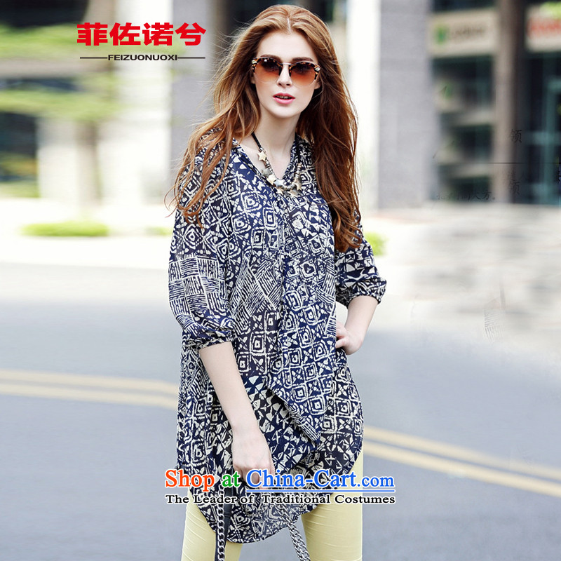 The officials of the fuseau larger women's summer under irregular to intensify the code in Europe and the Netherlands chiffon long casual shirt picture color燲L