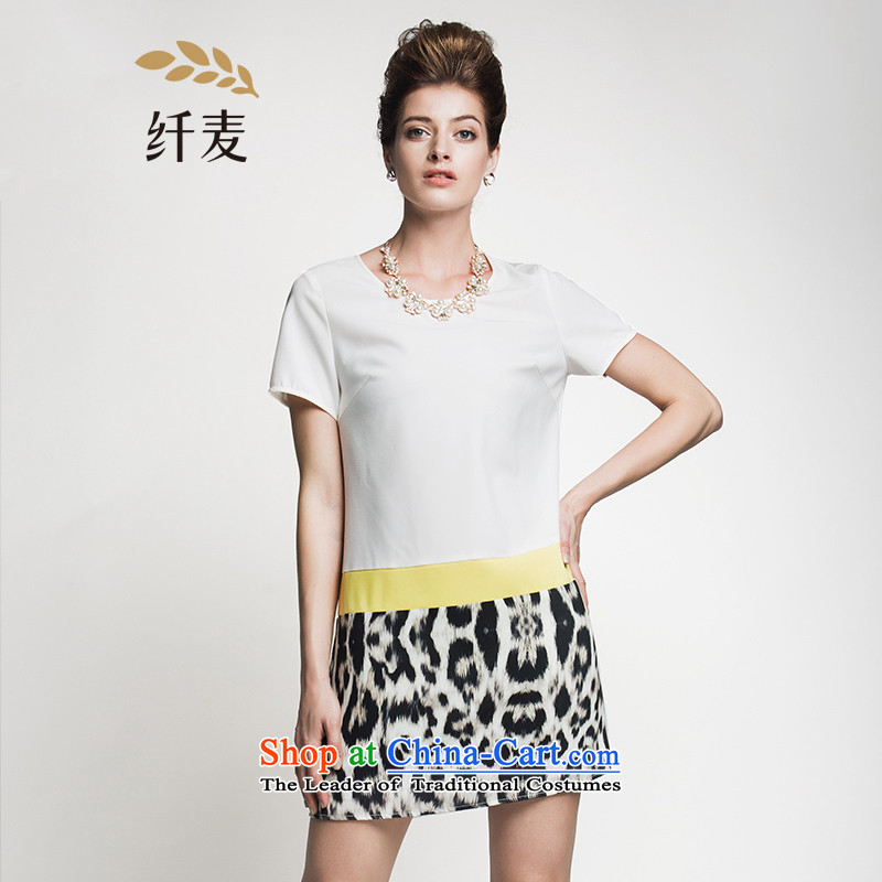 The former Yugoslavia Migdal Code women 2015 Summer new stylish mm thick leopard stitching temperament dresses�2103151燱hite�L