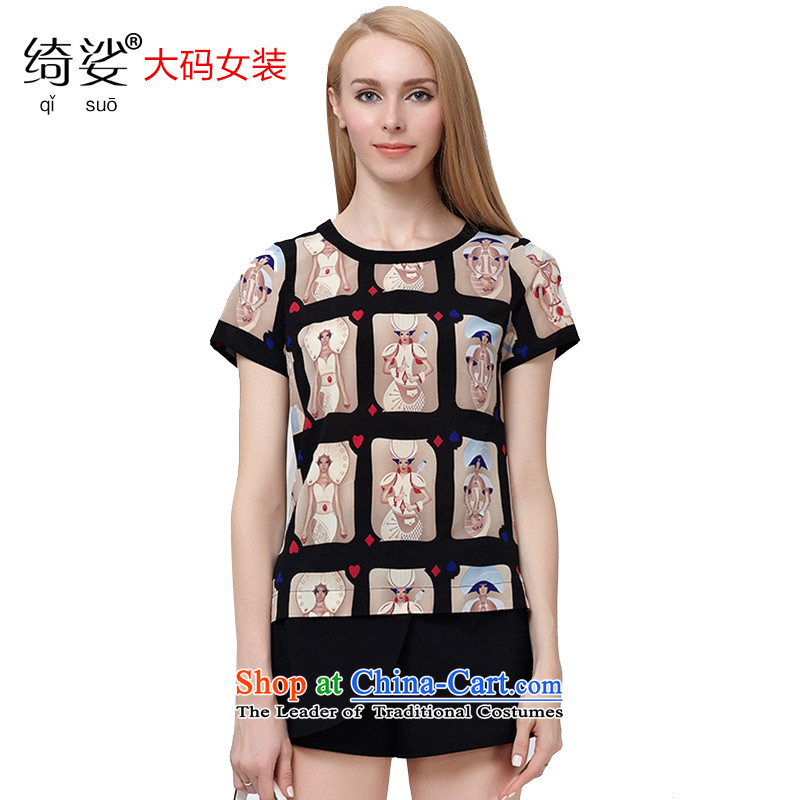 As provided for large 2015 women wear thick MM summer new Korean poker stamp graphics thin short-sleeved T-shirt chiffon Netherlands?2850?Black?XL