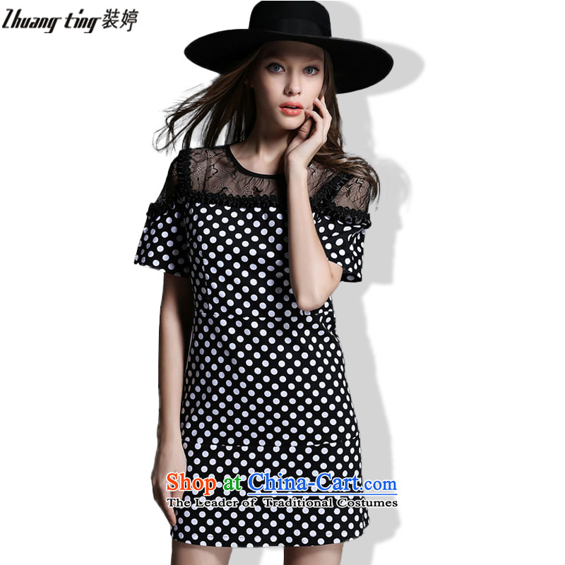 Replace Ting zhuangting2015 summer Western New Big Wave point stitching lace larger female loose round-neck collar dresses picture color?5XL 1928
