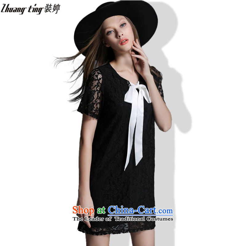 Install the new summer ting zhuangting2015 high end large European and American Girl graphics thin lace short-sleeved dresses 1926 Black?XL