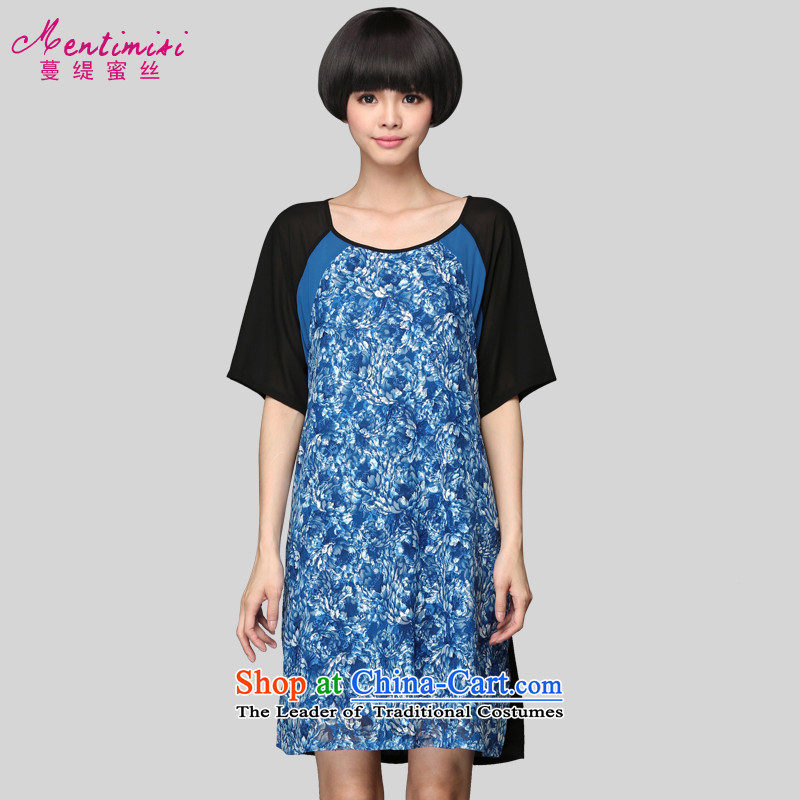 Overgrown Tomb economy honey population by 2015 Women's large summer to increase expertise sister video thin stamp lace chiffon dresses?2808?large blue code XL around 922.747 125