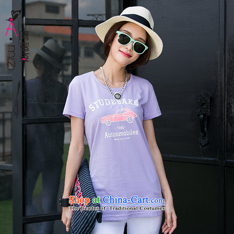 Amista Asagaya pedic code women thick mm summer new cotton t-shirts short-sleeve female Korean loose video thin short-sleeved T-shirt?, purple large 9,265 incense code XL RECOMMENDATIONS 120 140 catties