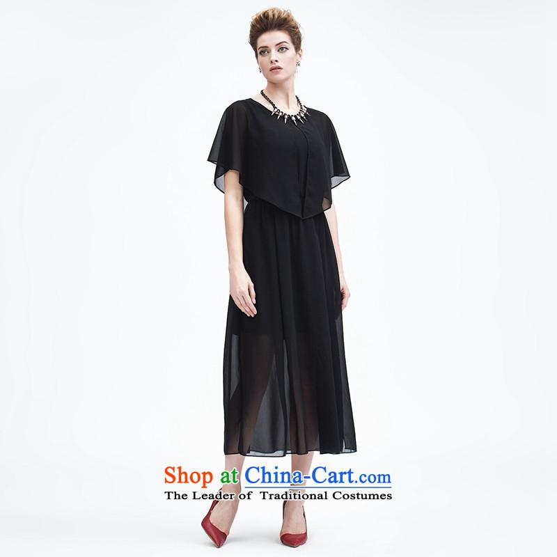 The former Yugoslavia Migdal Code women 2015 Summer new stylish mm thick chiffon fluoroscopy shawl dresses black?3XL 952103200