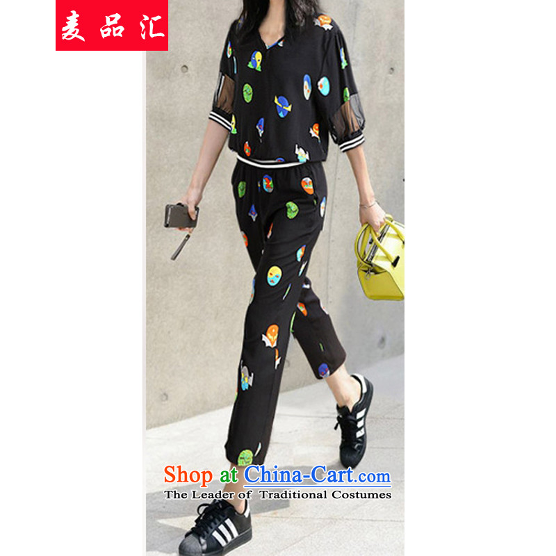 Mr Hui?2015 new products Europe and the large number of ladies thick mm summer video thin thin T-shirts of leisure shirt + 9 Long Short two Kit?236?picture color?3XL