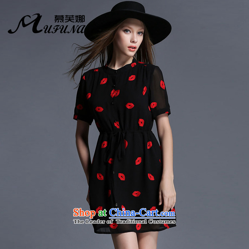 Improving access of 2015 Summer new mm thick large female chiffon red lips elastic drawcord video in thin long skirt?1909?Black?XXL