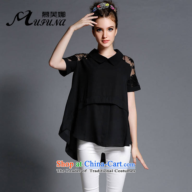 Improving access of 2015 Summer new larger female thick mm solid color loose chiffon shirt out Thick Long Short-sleeved T-shirt T-shirts irregular  XXXL 1898 Black