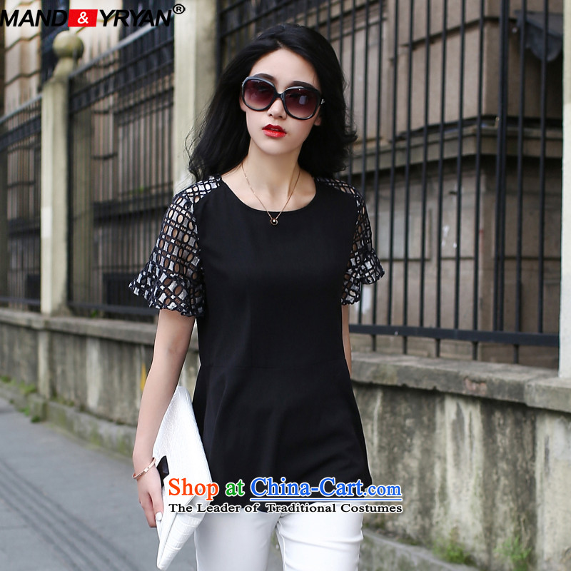 Mantile tu 2015 Western large female summer fat mm short-sleeved T-shirt lace stitching to intensify the thick black T-shirt MDR1759 sister XXXL150-160 around 922.747