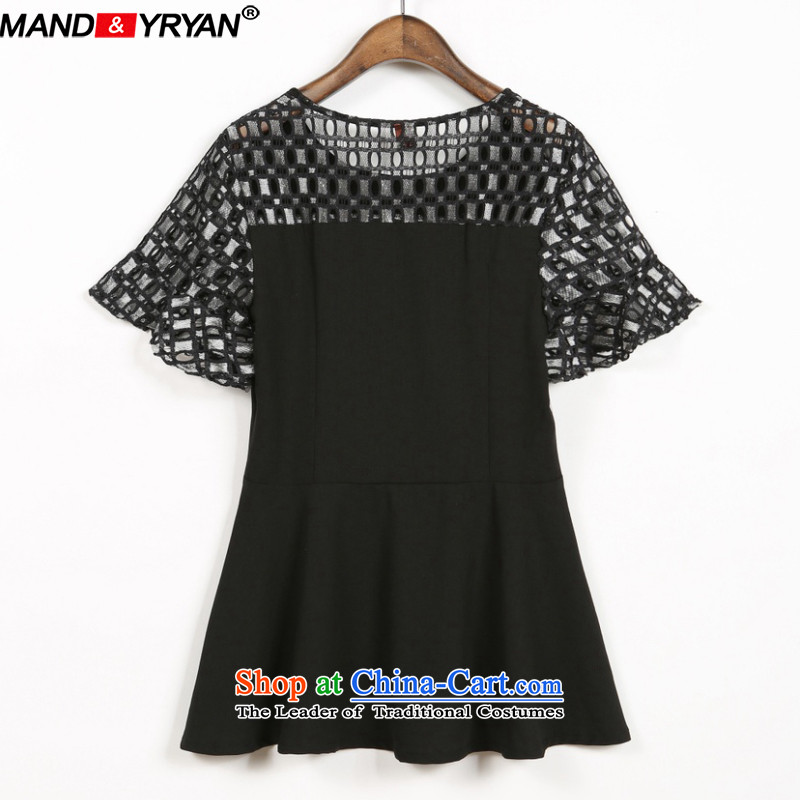 Mantile tu 2015 Western large female summer fat mm short-sleeved T-shirt lace stitching to intensify the thick black T-shirt MDR1759 sister XXXL150-160 around 922.747, mantile mandyryan Eun () , , , shopping on the Internet
