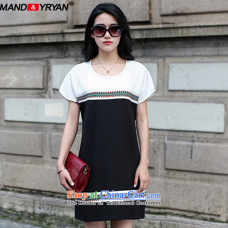Mantile tu 2015 new ultra large female to intensify the hedging round-neck collar chiffon dresses short-sleeved thick mm summer figure _MDR1765 XXXL150-160 around 922.747
