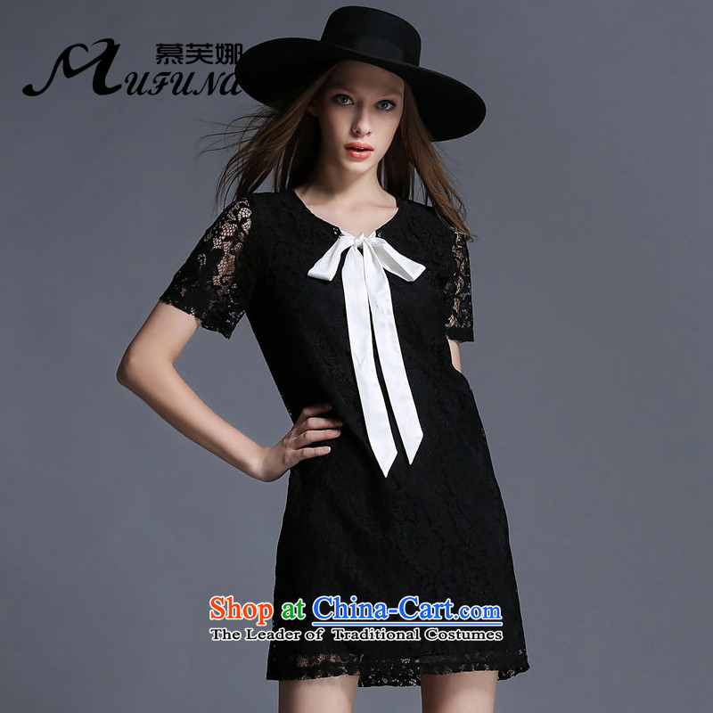 Improving access of 2015 mm thick larger women's summer new_ Dolls collar butterfly tie dresses video Thin?Black 1926?XL