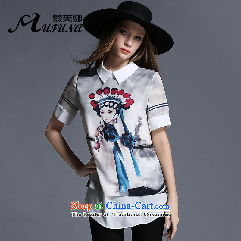 Improving access of 2015 Women's code of the npc thick summer new doll collar retro stamp wild shirt thick mm video thin T-shirt?color photo 1910?XXL