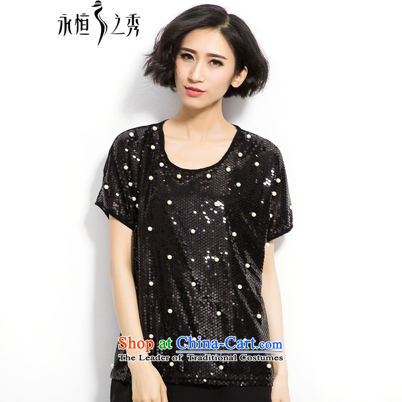 The eternal summer 2015, Sau thick mm new larger female high on-chip beads in making long thin black T-shirt graphics聽XL