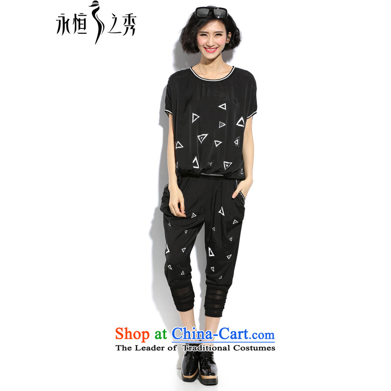 The Eternal Yuexiu Code women kit thick sister 2015 Summer thick mm new to intensify the stylish black-and-white-color printing video thin knocked t-shirt, black trousers 3XL kit