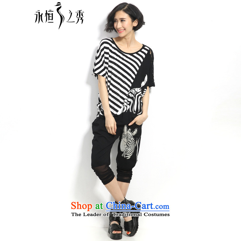 The eternal summer 2015, Sau thick mm new large stylish black-and-white streaks in women's zebra stamp graphics package black and white streaks thin 3XL color