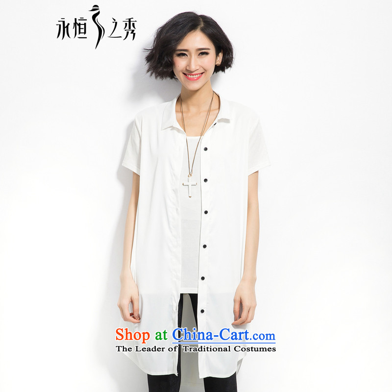 The eternal summer 2015, Sau thick mm new larger female single row for loose video in thin long white shirt?3XL