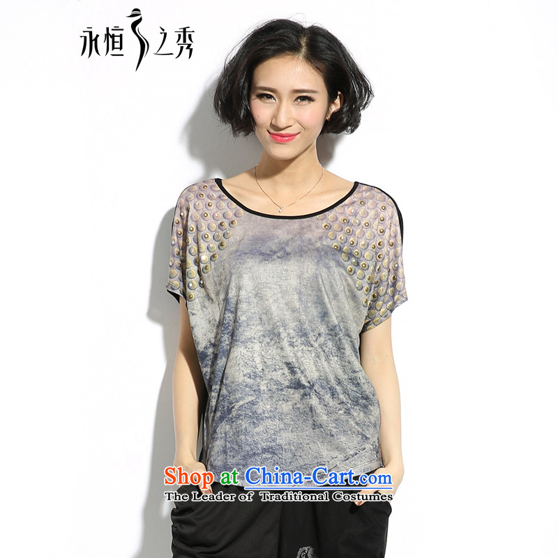 The eternal summer 2015, Sau thick mm new larger women's milk silk digital printing loose video thin T-shirt map color?XL