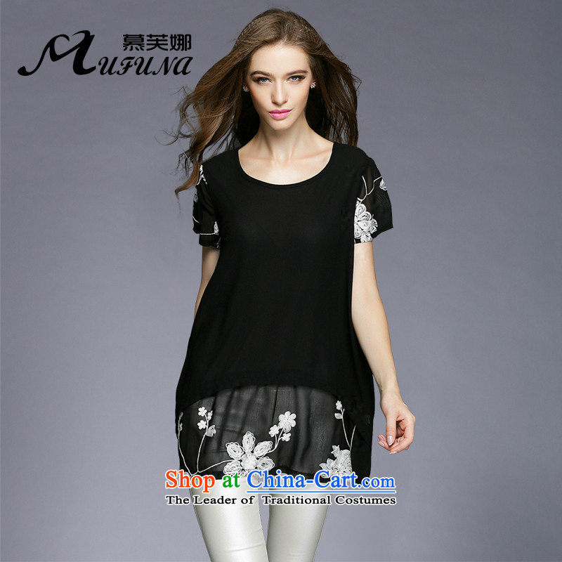 Improving access of 2015 Women's code of the npc thick summer pearl chiffon floral embroidery A field petticoats thick mm larger short-sleeved dresses?3374?Black?XXXXL