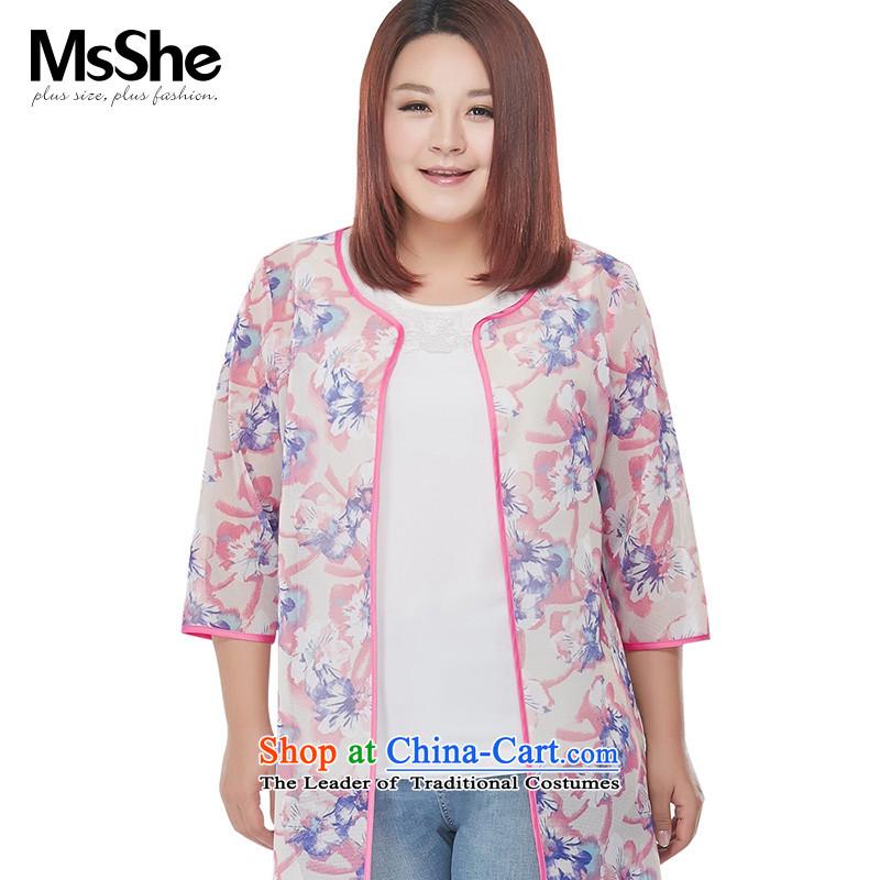 Msshe xl women 2015 new autumn assemble Heung-stamp mesh butted long 314,677 pink?XL
