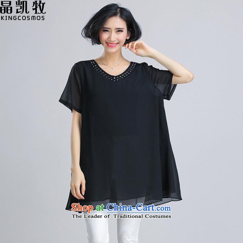 Jing Kai Makidai Code women 2015 Summer new women's T-shirts CDM620 C - Black?XXXL