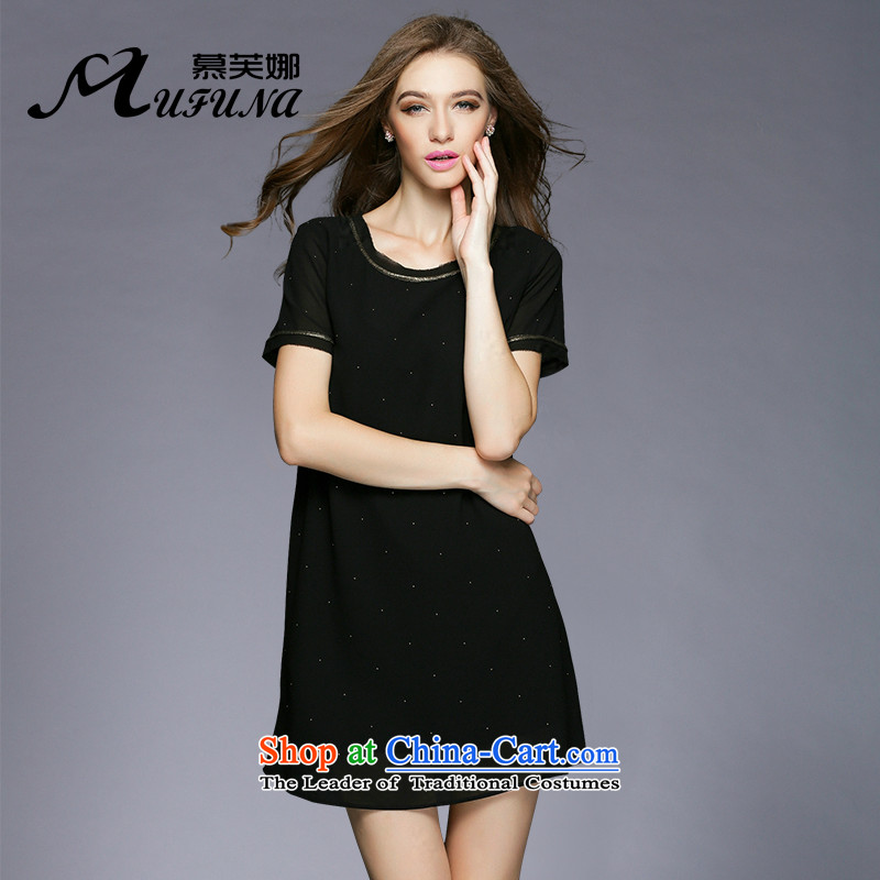 Improving access of 2015 mm thick larger women's summer to xl new round-neck collar pearl chiffon stylish loose video thin large dresses?3376?Black?XXL