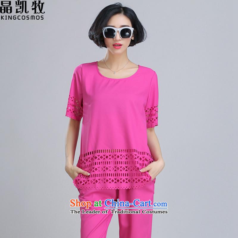 Jing Kai Makidai Code women's summer female new engraving chiffon shirt leisure wears two kits of red?XXXXL CDM621