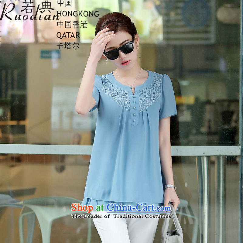 If Code?2015 Summer larger female loose chiffon shirt, long thick MM in graphics thin blue shirt?XL