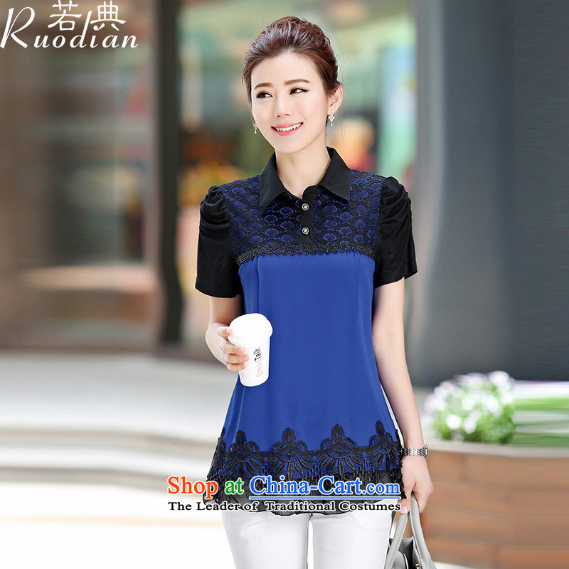 If the code for summer new thick mm larger video Ms. thin reverse collar short-sleeved shirt women chiffon lace Korean stitching shirt blue?L
