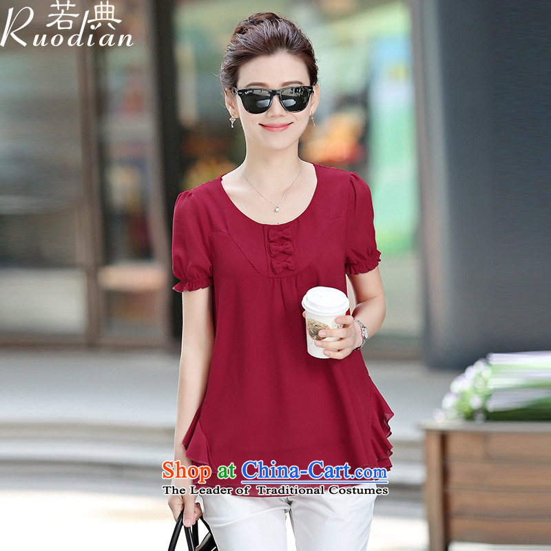 If code short-sleeved shirt women chiffon 2015 Summer loose thick large mm solid color shirt summer English thoroughbred?L