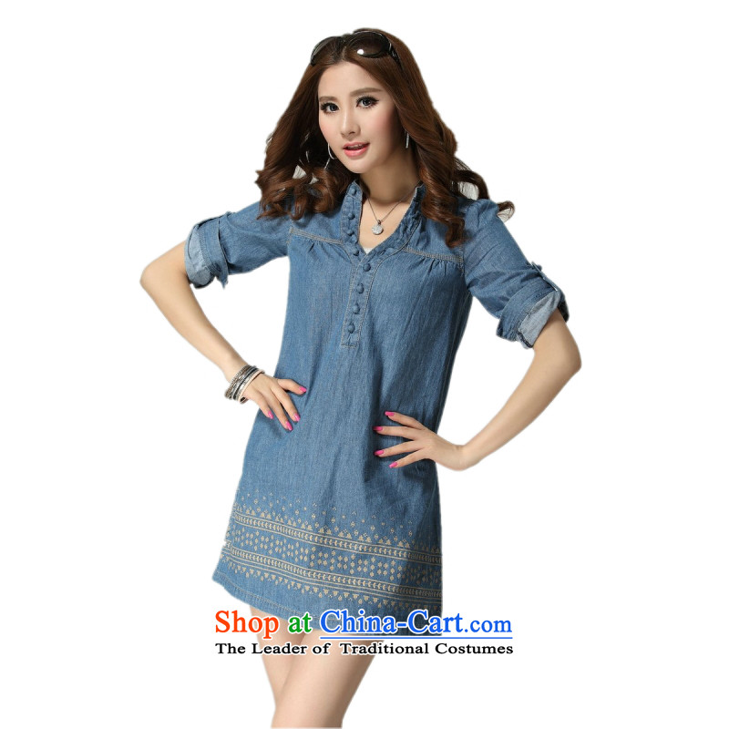 C.o.d. PACKAGE POSTAL CODE thick MM2015 large thin, cool and stylish denim dress Sau San video thin cross embroidery very casual denim dress map color?4XL