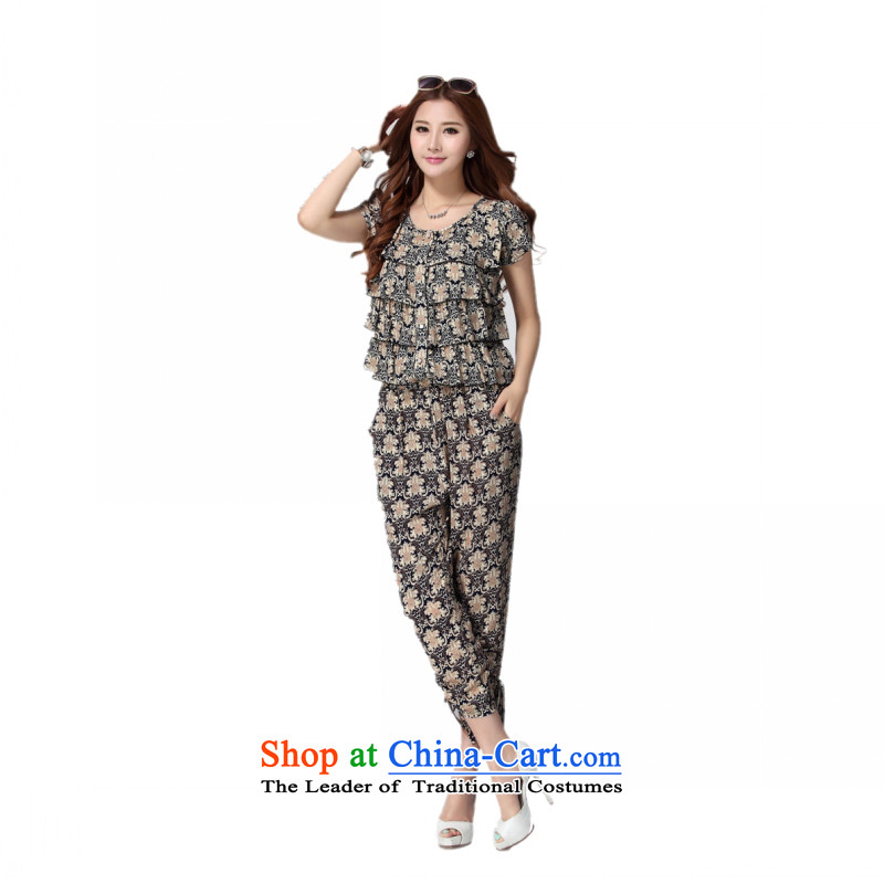 C.o.d. Package Mail xl women 2015 Summer new stylish temperament Korean thick mm Sau San-casual thin graphics trousers map color?4XL