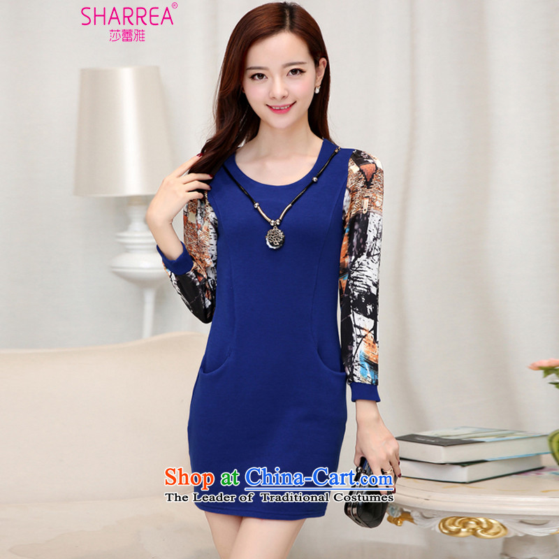 Sarah ya 2015 winter in new long long-sleeved plus lint-free large thick women's dresses 0762 Blue聽2XL