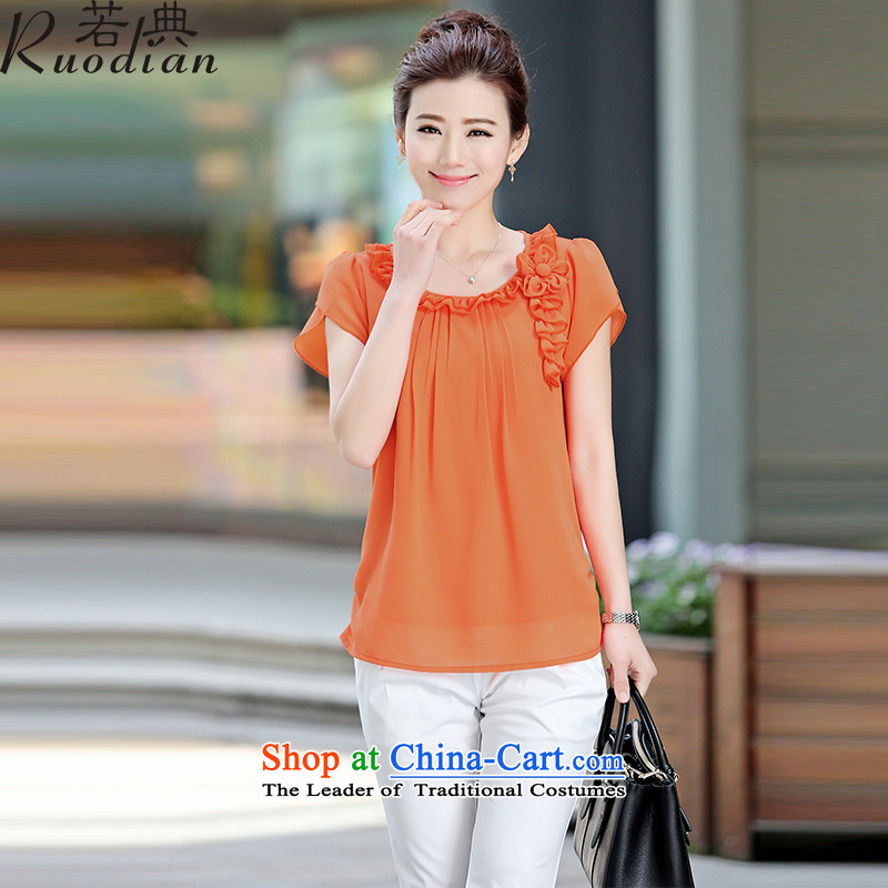 If middle-aged female code T-shirts thick mm Summer 2015 large female pure color chiffon short-sleeved T-shirt, jacket orange?M